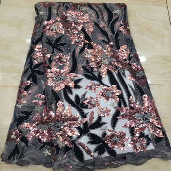 African Sequins Lace Fabric 2020 High Quality lace Embroidered Nigerian Lace Fabrics French Tulle Lace Fabric For Women XX