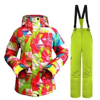 2017 Wild Snow Professional Ski Jacket Pants Suit Set Waterproof Windproof Warm Outdoor Wear for Skiing Snowboarding for Women