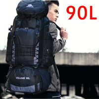 90L Travel Bag Camping Backpack Hiking Army Climbing Bags Trekking Mountaineering Mochila Large Capacity Sport Rucksack XA857WA