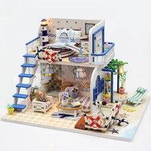 Surwish DIY креативная тема ручной работы деревянная кабина сборка здания Кукольный дом модель игрушки набор с светильник и музыкой-Blue Coast