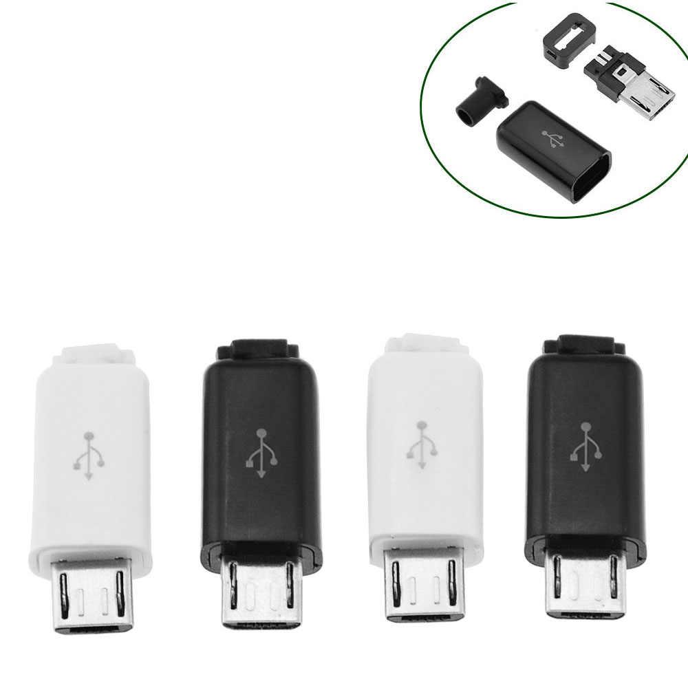 5 Buah 4 In 1 Micro USB 5P Konektor Plug Hitam/Putih Las Data OTG Antarmuka Baris DIY Kabel Data Aksesoris