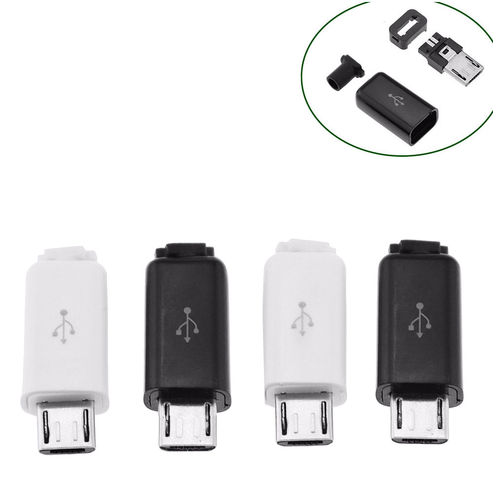 5PCS 4 In 1 Micro USB 5P Male Connector Plug Black/White Welding Data OTG Line Interface DIY Data Cable Accessories