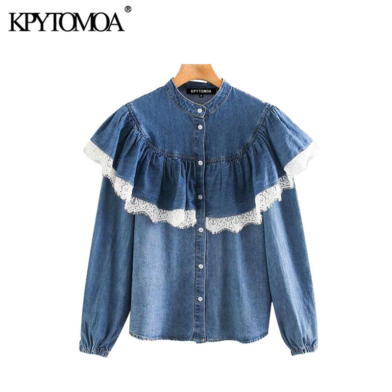 Vintage Sweet Lace Patchwork Ruffled Denim Blouses Women 2020 Fashion Stand Collar Long Sleeve Female Shirts Blusas Chic Tops