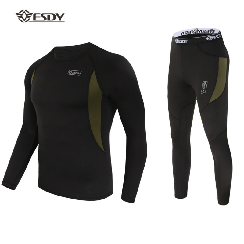 Thermal Underwear Outdoor Winter Sports Trainning Exercise Sets Fleece Suits Running Quick Drying Warm Underwear Men Clothing