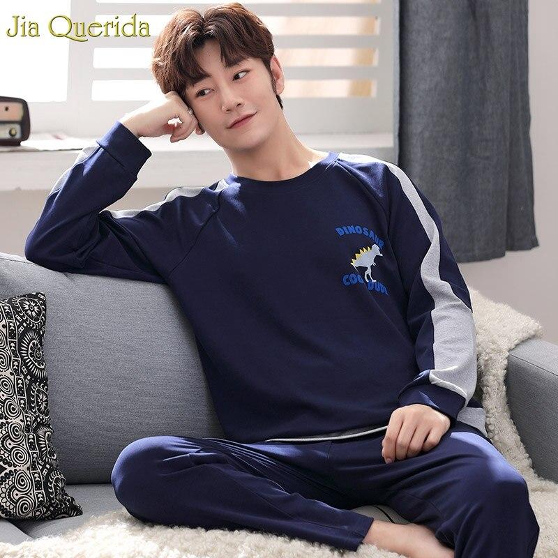 Sporty Pajama Men Cool Dinosaur Printing Royal Blue 100% Cotton Big Size 4xl 5xl Luxury Men Home Clothing Mens Pajama Set Cotton