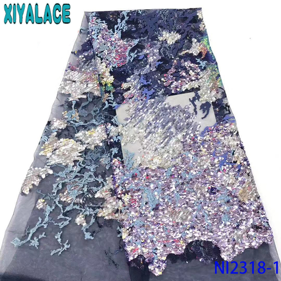 Latest African Laces 2019 Sequence Lace Fabric High Quality Fabric Lace With Sequins For Asoebi Dresses  KSNI2318-1