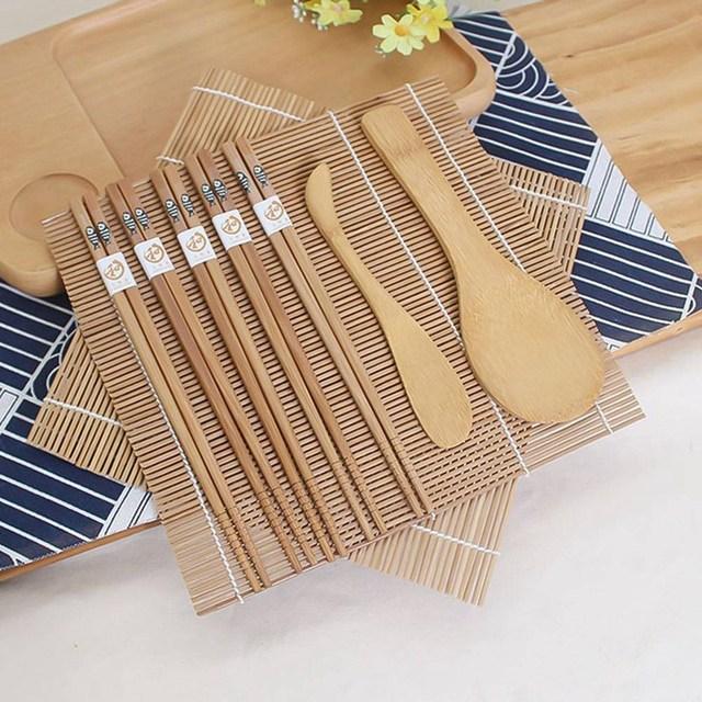 9pcs/set Sushi Mat Bamboo Knife Rice Spoon Chopsticks Sushi Maker Set Rice Mold Kitchen Sushi Mold Cooking Tool 2
