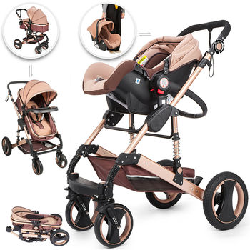 Baby Stroller 3 In 1 Pushchair Foldable Luxury Buggy Infant Travel With Car Seat