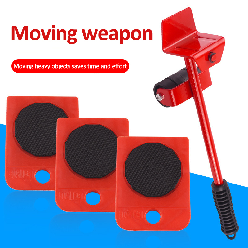 5Pcs Furniture Mover Tool Transport Lifter Set Heavy Stuffs Moving Wheeled Roller Bar Household Hand Tools Professional Sets-1