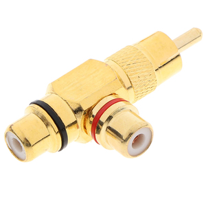 Image 3 - 1pc Gold Plated RCA Male to 2 Female RCA Splitter Adapter AV Video Audio T Plug RCA 3 way Plug R Connector