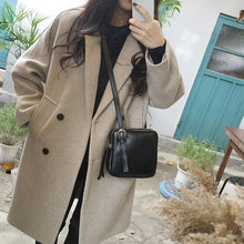 2019 New Thin Wool Blend Coat Women Long Sleeve Turn-down Collar Outwear Jacket Casual Autumn Winter Fashion Overcoat