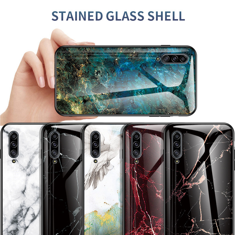 Marble Tempered <font><b>Glass</b></font> <font><b>Case</b></font> For <font><b>Samsung</b></font> Galaxy A30S A50S Soft Silicone Cover For A10 E A20 A70 S <font><b>M30S</b></font> A30 A40 A50 A60 A80 A90 5G image