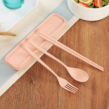 3PCS/Set Tableware Portable Travel Set Wheat Straw Camping Picnic Spoon Fork Chopsticks Adult Kids Dinnerware