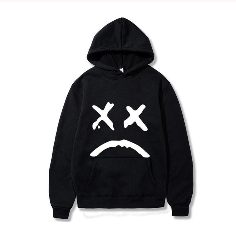 Korean Streetwear Sweatshirt Men Women Casual Pullover Hip Hop Long Sleeve Smile Sad Face Line Print Sport swear Tops Hoodies