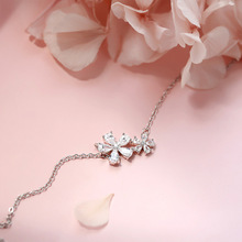 Silver Flower Zircon Necklaces Pendants 925 AAA Sparkling Sakura  With Chain Choker Necklace Jewelry For Girl Women