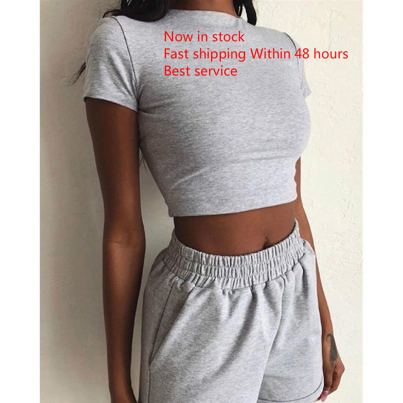 Women's 2-Piece Outfit Set Cozy Sport Fitness Gym Crop T Shirt Tops High Waist Shorts Pants Set
