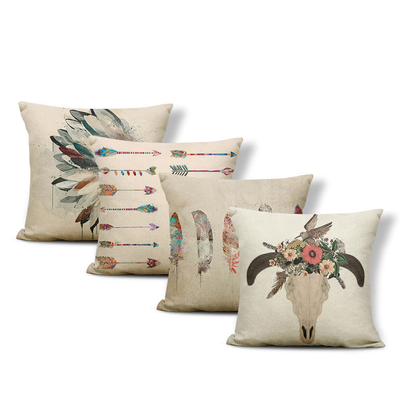 Simple Boho Pillow Cushion Feather Skull Arrow Square Pillow Polyester Linen Home Decoration Living Room 43*43Cm Cushion Cover
