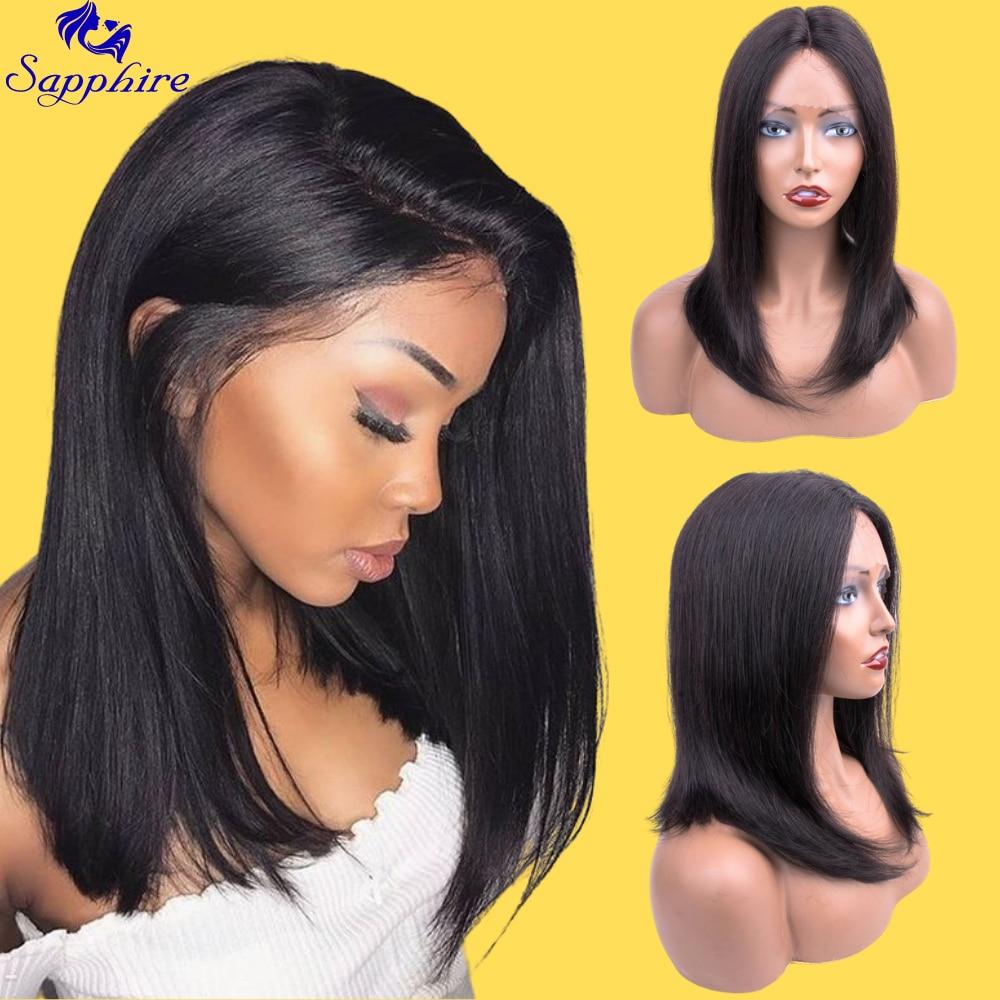 Saphir 10 12 14 16 pouces partie moyenne perruques de cheveux humains avant de lacet perruques Remy cheveux naturel délié noeuds blanchis livraison gratuite