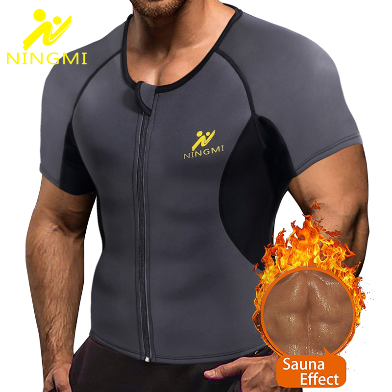 NINGMI Sport Shirt Body Shaper Slimming Waist Trainer Men Tank Top Neoprene Sauna Vest With Zipper Mesh Shapewear Warming Jacket