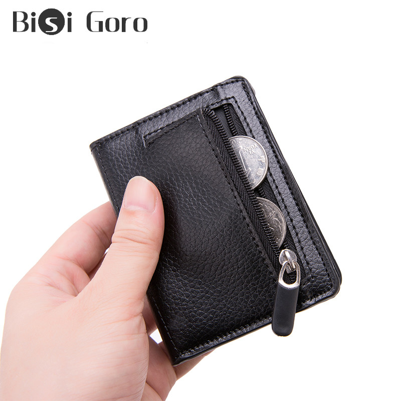 BISI GORO Men Rfid Slim Wallet Coin Purse Card Holder Magic PU Leather Wallet Small Money Bag Women Purses Carbon Fiber Wallets