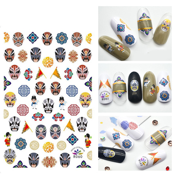 3D Stickers for Nails Self-adhesive Design Painted Face Drama Totem Nail Art Decorations Decals Foil Wrap Manicure Accessories image