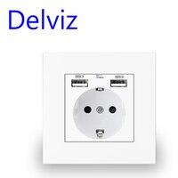 Presa di corrente USB a parete Delviz, molti pannelli di nuovo stile, presa per camera da letto, ca 110V-250V 16a parete, doppia presa Standard ue usb