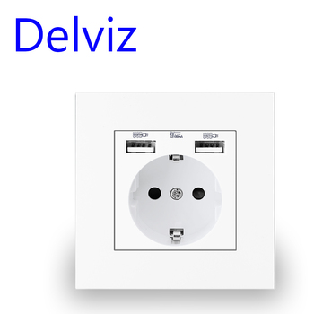 Delviz Wall USB Power Socket, Many New style Panel, Bedroom socket,AC 110V-250V 16A Embedded, Double usb EU Standard Outlet - discount item  67% OFF Electrical Equipment & Supplies
