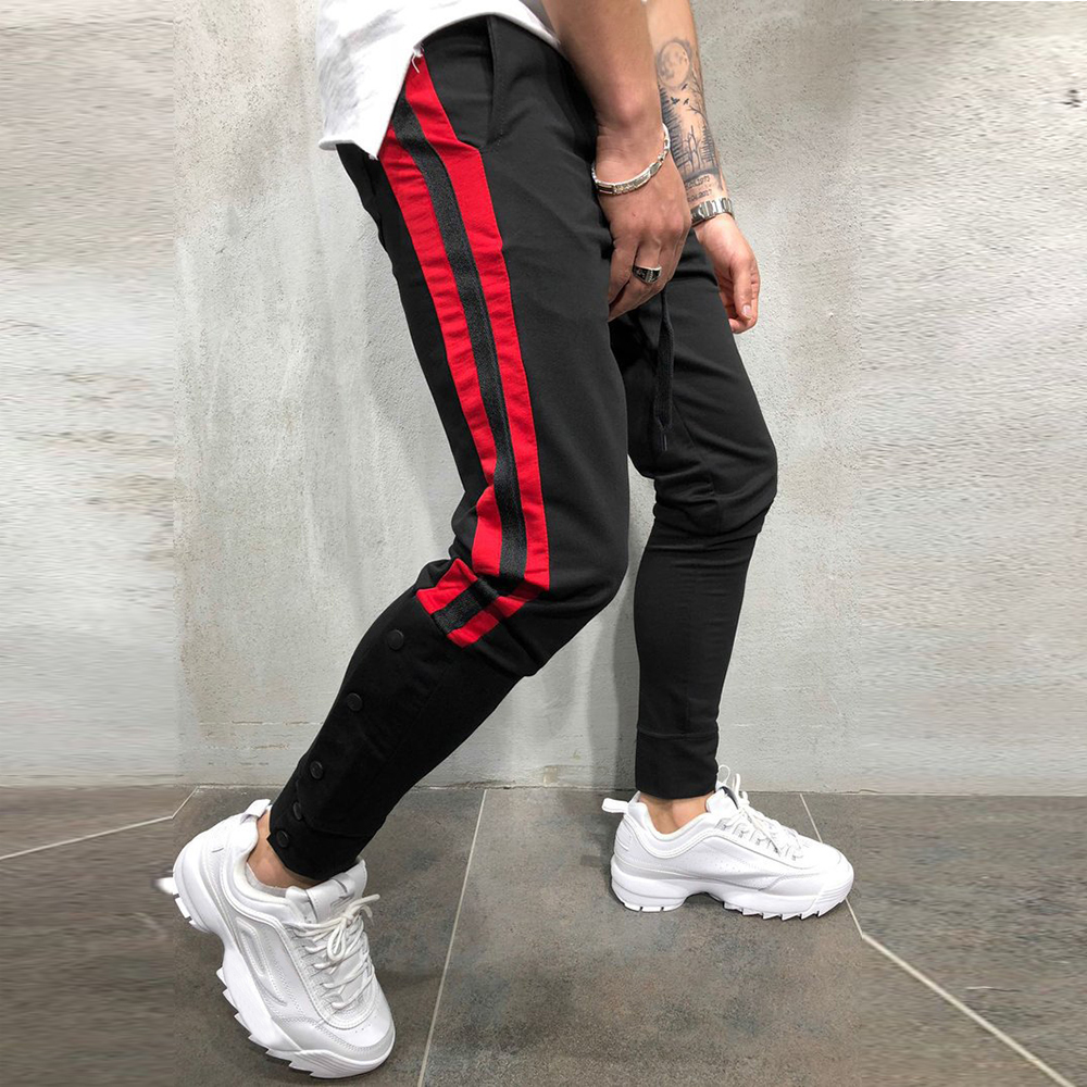 2019 Fashion Men Loose Jogging Sports Pants Sweatpants Casual Pockets Male Trousers Side Stripes Hip Hop Pants Tracksuit Bottoms
