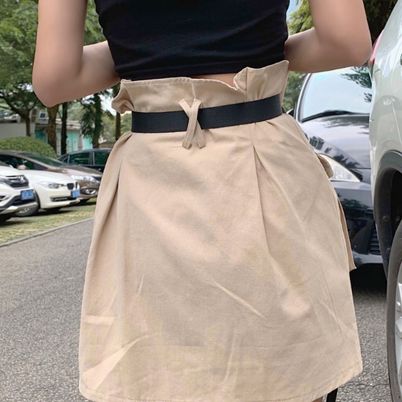 Image 2 - Women's Summer Harajuku Skirt with Belt Pocket Zipper Decorative Tooling Skirts Female Fashion High Waist Mini Skirt 2 colors-in Skirts from Women's Clothing