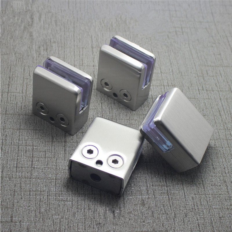 10PCS Stainless Steel Glass Clamps Adjustable 10-12MM Round Glass Clamp Glass Bracket Arc Back for Balustrade Staircase Handrail