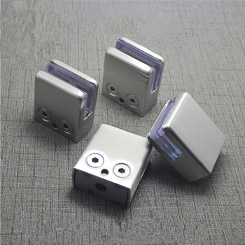 4Pcs Stainless Steel Square Clamp Holder Bracket Clip For Glass Shelf Handrails Silver - discount item  15% OFF Hardware