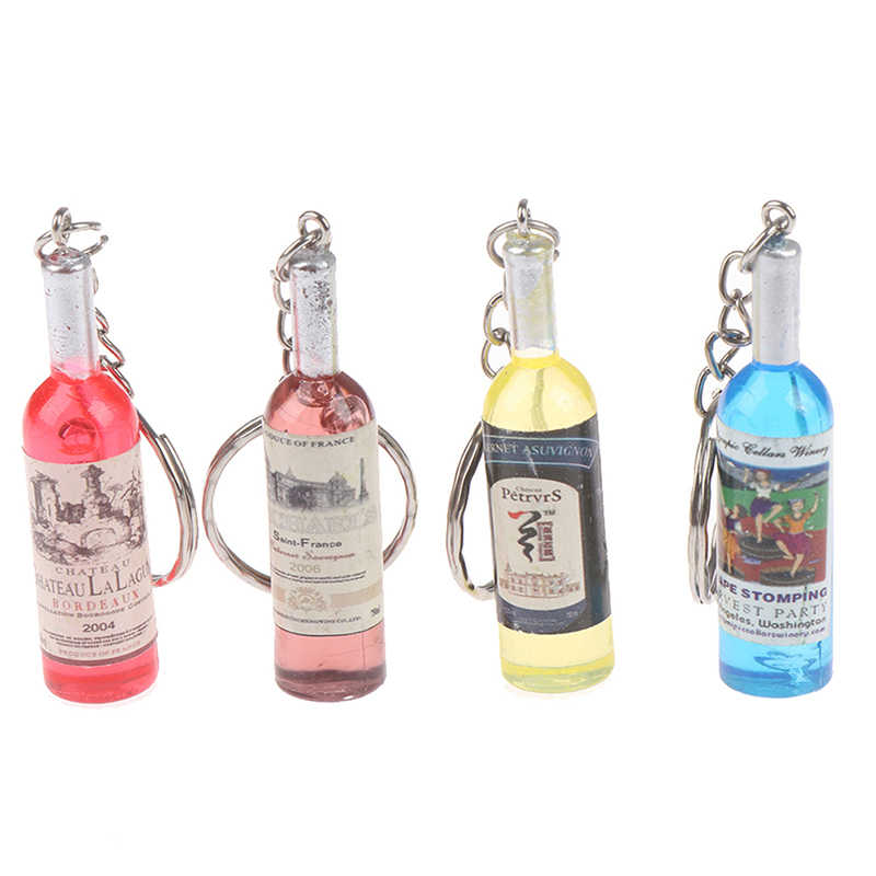4 Mới Nữ/Nam Thời Trang Sửa Nhựa Rượu Móc Chìa Khóa Chìa Khóa Quà Tặng Đồ Chơi Hợp Kim Quyến Rũ quà Tặng Giá Sỉ