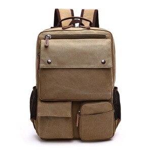 Image 5 - ผ้าใบคุณภาพสูงกระเป๋าเป้สะพายหลังผู้ชายสีทึบกระเป๋าแล็ปท็อป15.6นิ้วSuperior Vintageออกแบบกลางแจ้งทนทานแนวโน้มใหม่คลาสสิก