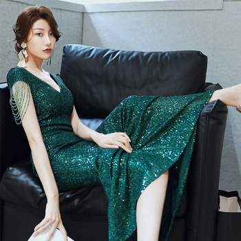 Beading Evening Dress Green Shining Sequins Women Party Dresses K045 Long Sexy V-Neck Formal Gown Mermaid Elegant Robe De Soiree