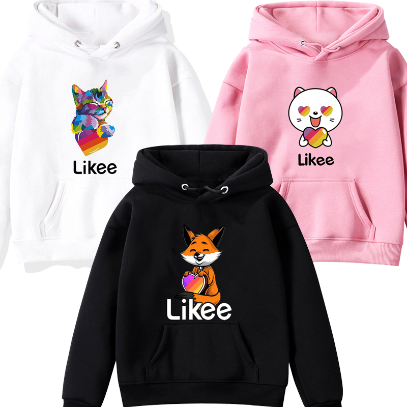 Kids Pullover Likee Video App Sweatshirt Children's Clothing Baby Boys Girls Hoodie Casual Tops With Hood Animal Fox Cat Unicorn