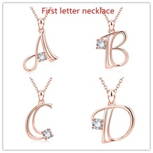 Women's Rose Gold 26 Letter Zircon Pendant Necklace Birthday's Gifts Charm Crystal Clavicle Chain for Women Statement Jewelry 2019 statement multilayer letter pendant necklace charm gold necklace bread beads chain necklace jewelry for women