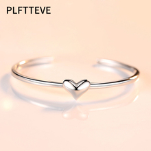 Cute Heart Cuff Bracelets & Bangles For Women Girls Silver Color Alloy Open Female Bangle Bracelet Fashion Jewelry charming solid color heart cuff bracelet for women