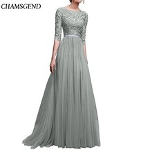 Summer Dress Women Formal Lace Beach Solid Color Party Elegant Lady Gown Floor-Length O-Neck Dress(China)