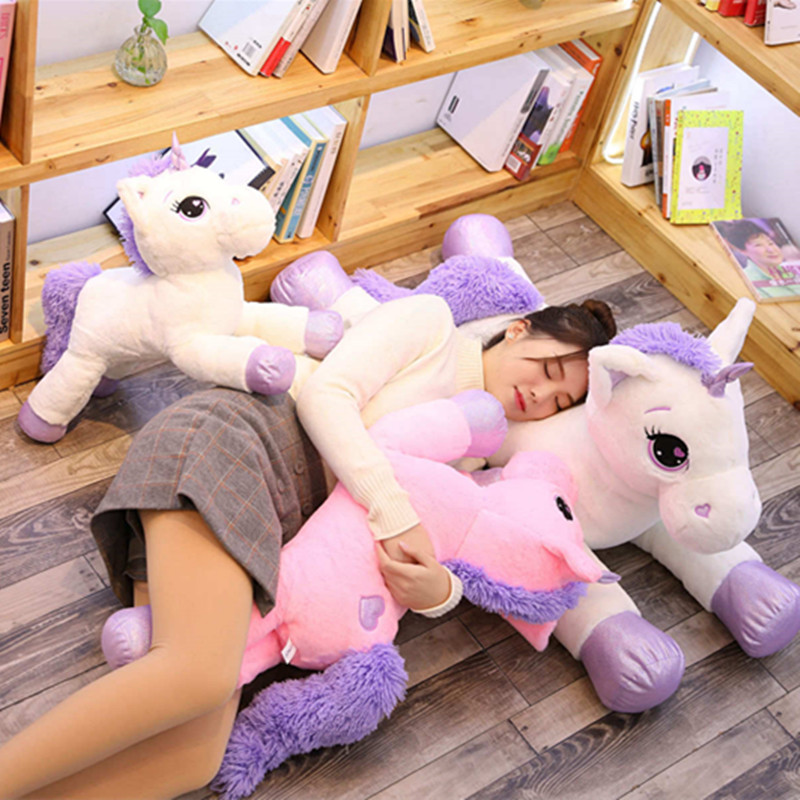 Giant 110cm Unicorn Plush Toy Soft Stuffed Cartoon Unicorn Doll Animal Horse Toy High Quality Toys Gift For Children Girls