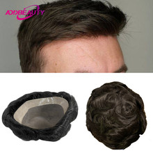 Mono NPU tupecik dla mężczyzn ludzki włos System Hairpiece Remy indyjski ludzki włos peruka wymiana naturalny kolor ciemny brąz z szarymi włosami