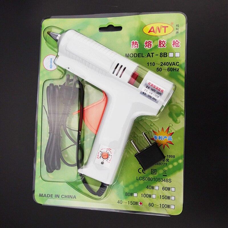 Купить с кэшбэком Free Shipping 220v 40-150w Hot Melt Glue Gun Temperature Adjustable Repair Kit Tools with 5 Pcs Glue Sticks Home DIY Aluminium