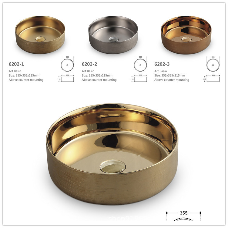 Rétro au-dessus du comptoir bassin maison ronde en céramique Art lavabo luxe doré petit lavabo Commercial évier ensemble de bassins