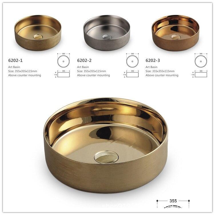 Retro Above Counter Basin Home Round Ceramic Art Wash Basin Luxury Golden Small Washbasin Commercial Sink Basins Set