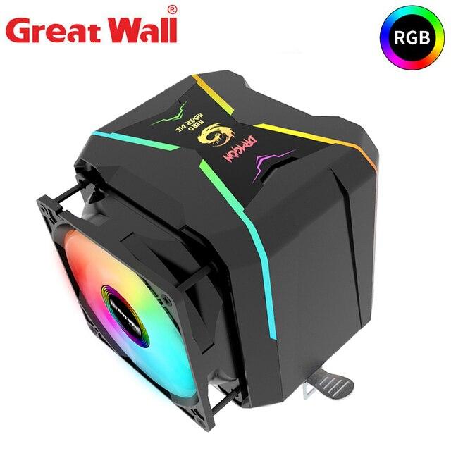 مبرد وحدة المعالجة المركزية للجدار العظيم RGB 90 مللي متر PWM مروحة التبريد إنتل LGA1150 1151 1155 1156 775 AMD AM3 AM4 برودة RGB وحدة المعالجة المركزية برودة للكمبيوتر