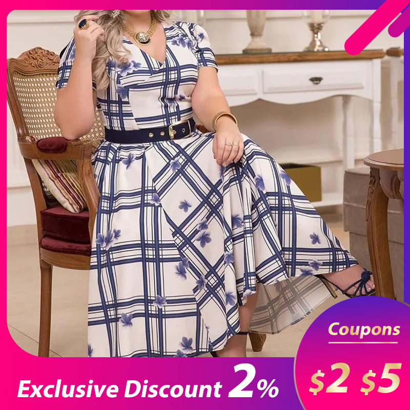 Plus Size A-Line Casual Dress Elegant Party Office Lady Women Dresses Short Sleeve V-Neck Retro Plaid Vintage Dress