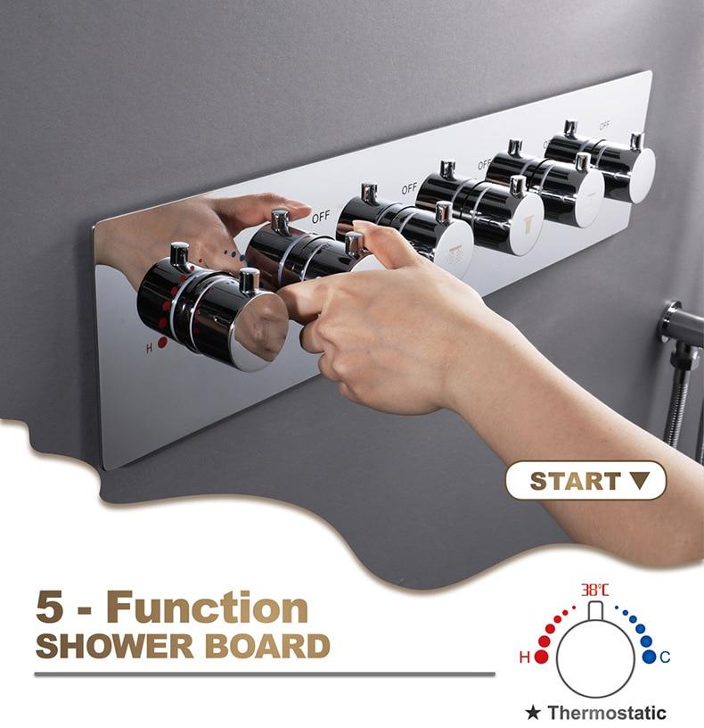 H1b1d950b5ab24e8fb68b560a0f38441aP M Boenn Music Shower System Rain ShowerHeads LED Shower Set Bathroom Faucet Thermostatic Valve Matte Black/Chrome Bath Mixer Tap