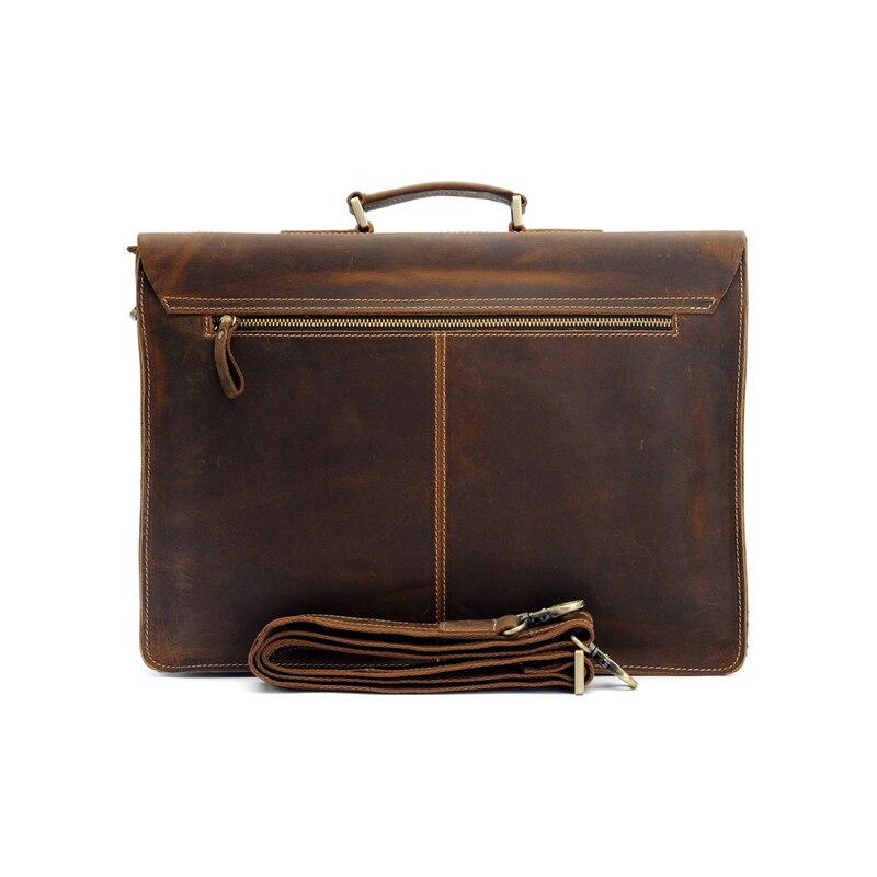 Высококачественный Мужской винтажный кожаный портфель Crazy Horse, сумка через плечо, сумка для ноутбука, чехол, Офисная сумка 1061 - 5