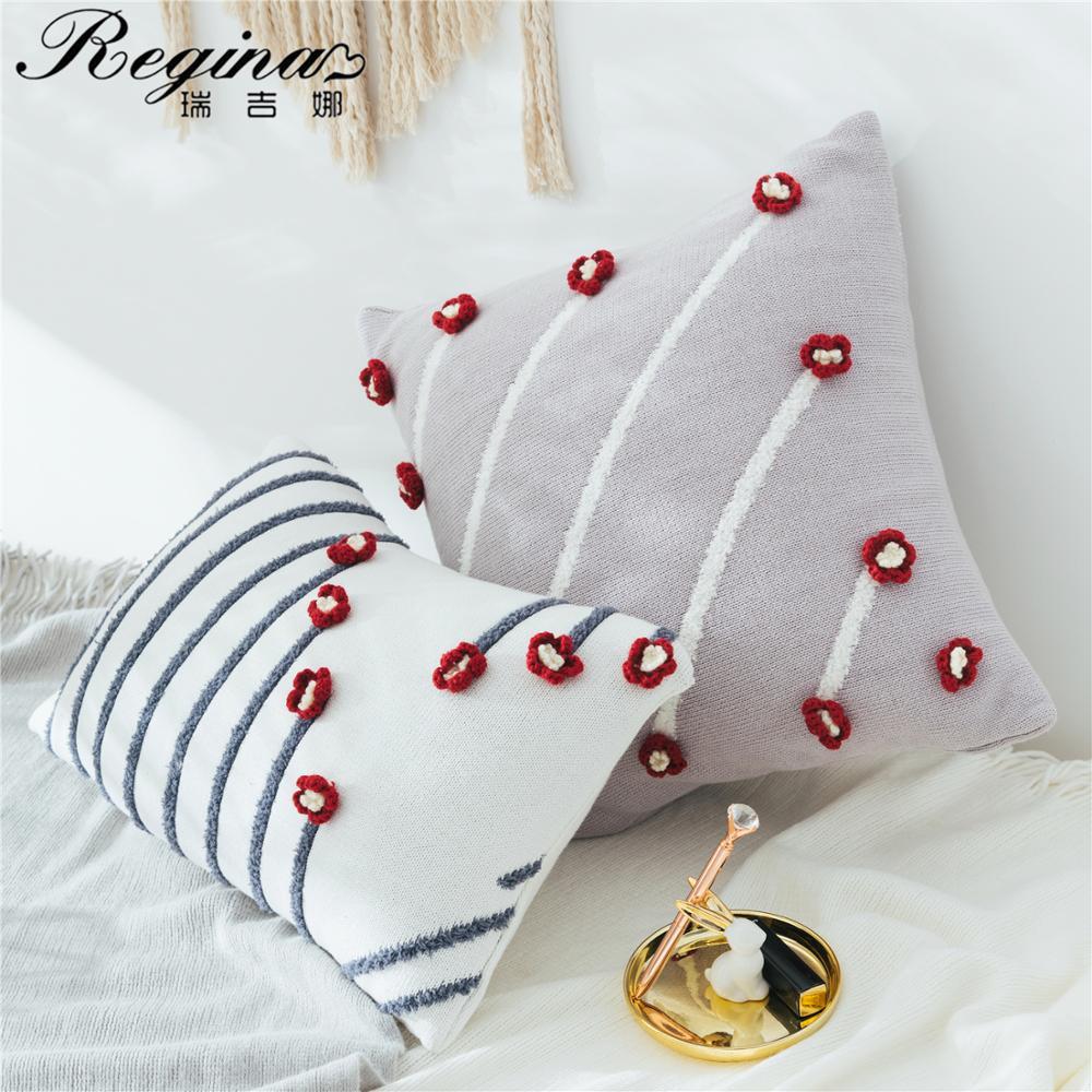 regina cushion fashion stripe 3d flower crochet pillow white purple lumbar pillow seat 100 cotton knitted cushion back cushion