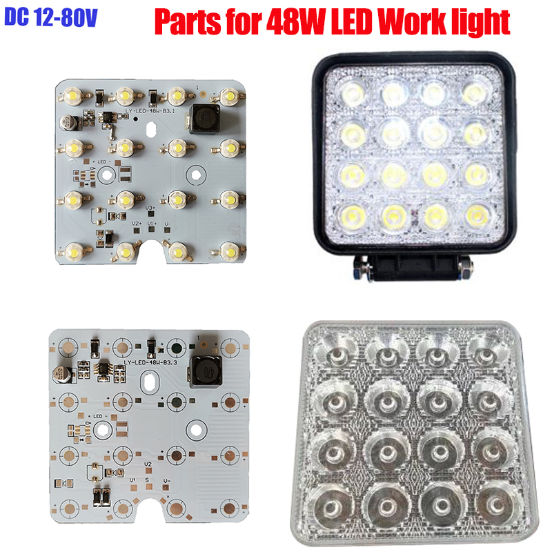 20PCS LED Ligh Board  36W 48W Driver Integrated 16 LED PCB Board Lens DC12 80V for LED Work Lights Parts DIY Repair-in LED Bulbs & Tubes from Lights & Lighting    1