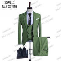 2019 Shiny Mint Green Men Suits Stylish Style Formal Wedding Prom Suit for Men Groom Tuxedos 3 Pieces Best Man Blazer Costumes
